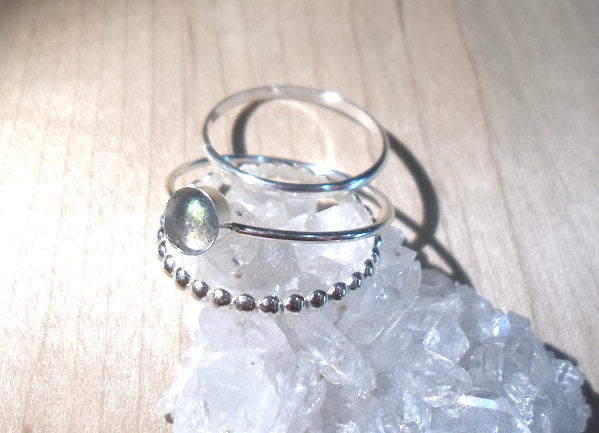 Labradorite Ring Stacking Set - Sterling silver labradorite stack rings - Labradorite stacking rings - Midnight moonstone ring