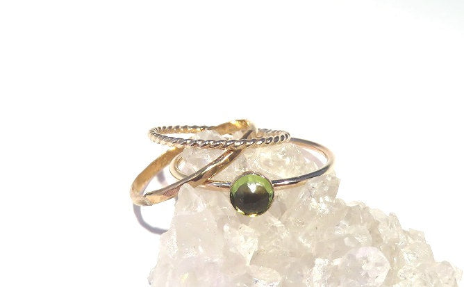 Peridot Ring, Peridot Stacking Set, Gold peridot Rings, Stacking rings, August Rings, Gemstone stacking rings,  August Birthstone rings