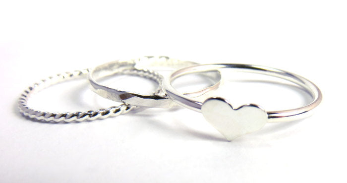 Heart rings, silver rings, stacking rings, silver heart ring, love rings, heart ring set, gifts for her, stack rings, stacking set