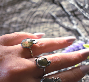 Labradorite Moon Ring #1-Size 6