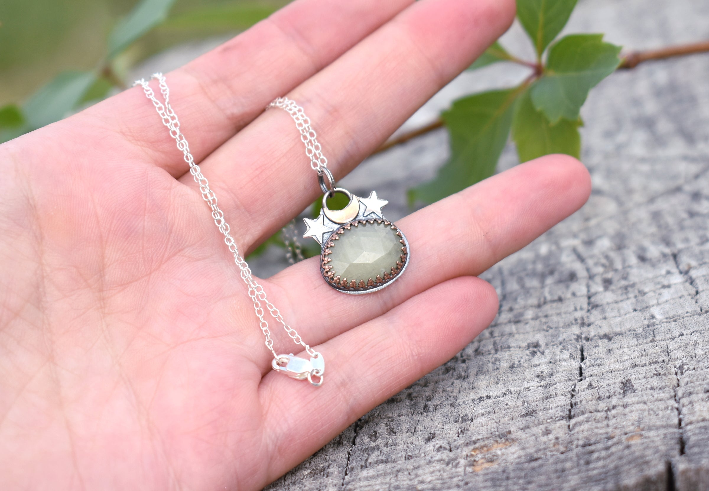 Moon Daughter Pale Green Sapphire Mini Amulet #1
