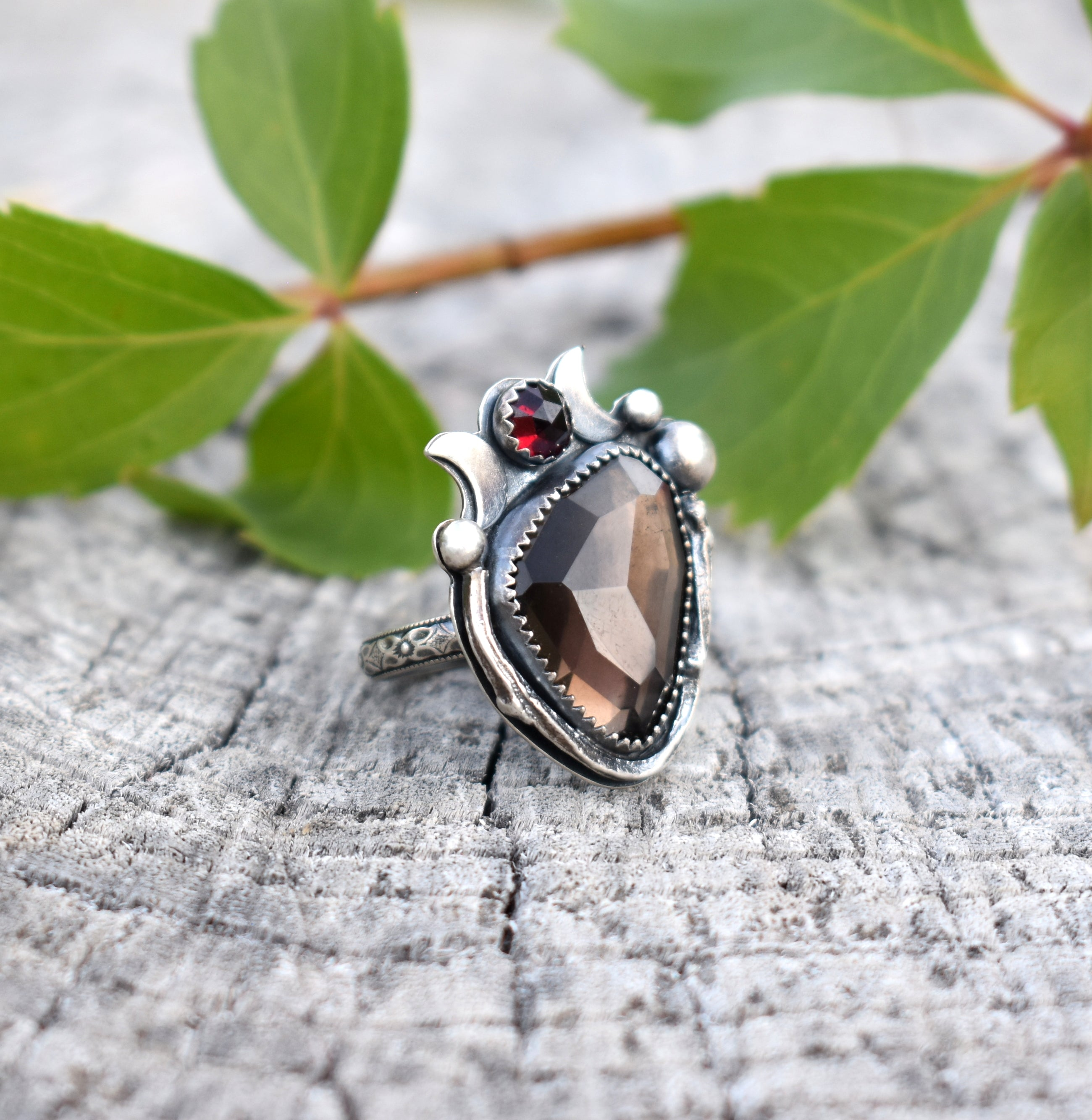 Smoky Quartz & Pyrope Garnet Ring #1 US Ring Size 6