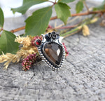 Smoky Quartz & Pyrope Garnet Ring #2 US Ring Size 9