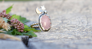Moon Daughter Pink Sapphire Talisman Ring #6-US size 5.5