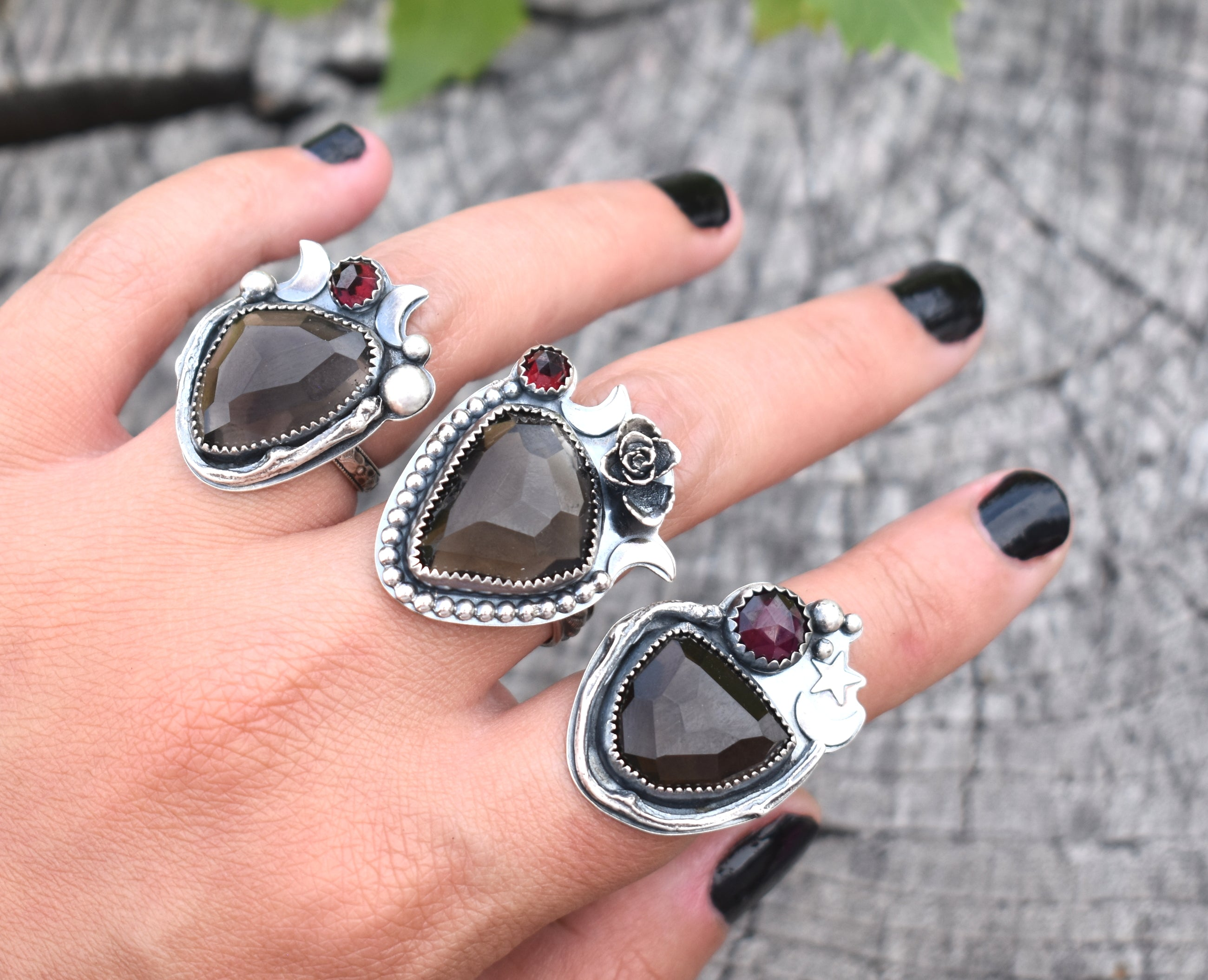 Smoky Quartz & Pyrope Garnet Ring #1 US Ring Size 6/6.25