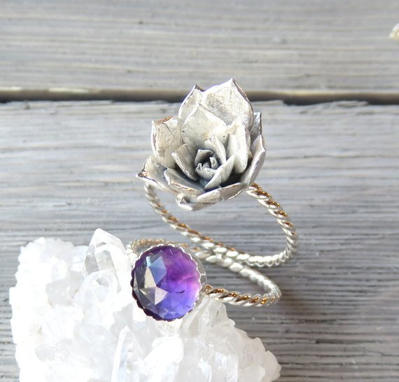 Sempervivum Succulent Double Band Statement Ring