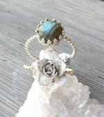 Echeveria Succulent Double Band Statement Ring