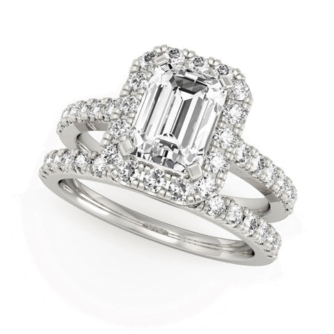 Radiant Cut Halo Engagement Ring with matching Wedder