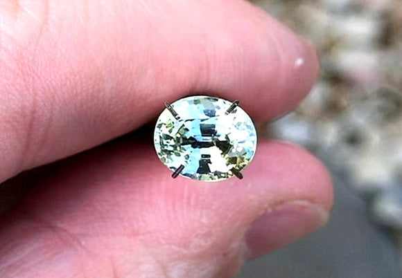 3.02 carat Madagascar Green and Yellow Parti Sapphire