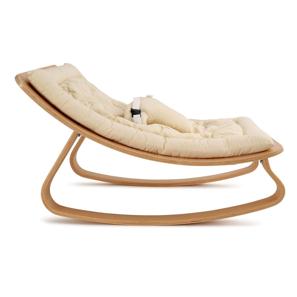 Charlie Crane Levo Baby Rocker in Beech with Organic White cushion (Pre-order for July)