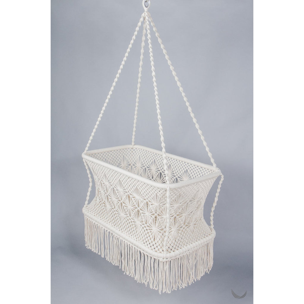 Macrame Hanging Baby Bassinet - rectangle base