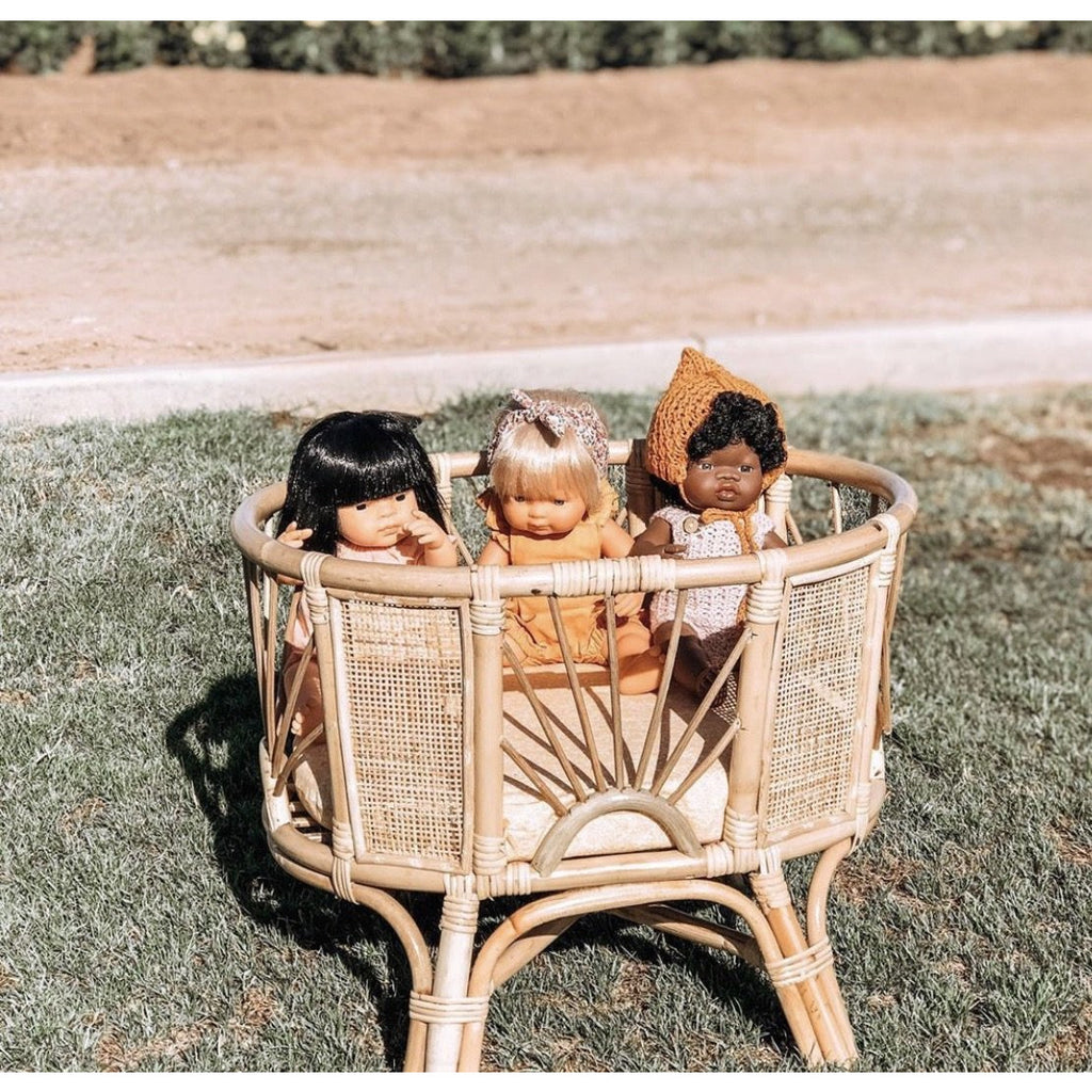 PRE ORDER - The Maui - Rattan Dolls Bassinet (bigger version)