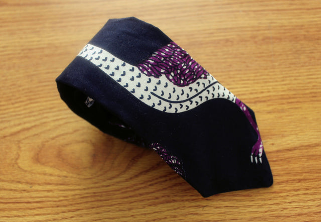 Okuko (Rooster) African Tie - Purple and White - The Dapper Cats - 1