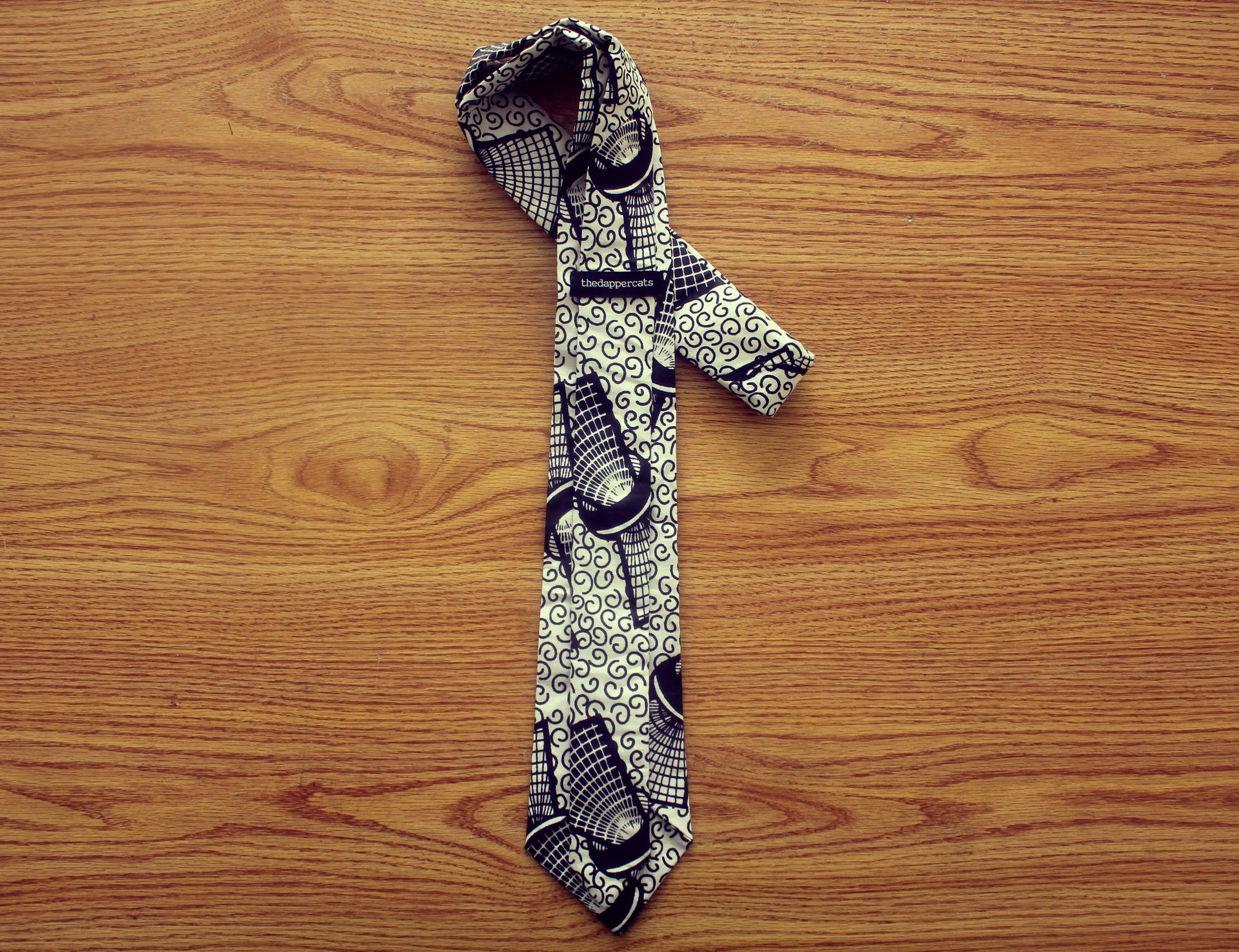 Kara (Cane) African Tie - Black and White - The Dapper Cats - 3