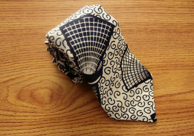 Kara (Cane) African Tie - Black and White - The Dapper Cats - 1