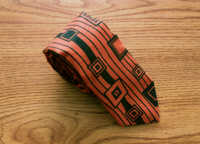 Apoti (Box) African Tie - Orange and Green - The Dapper Cats - 1