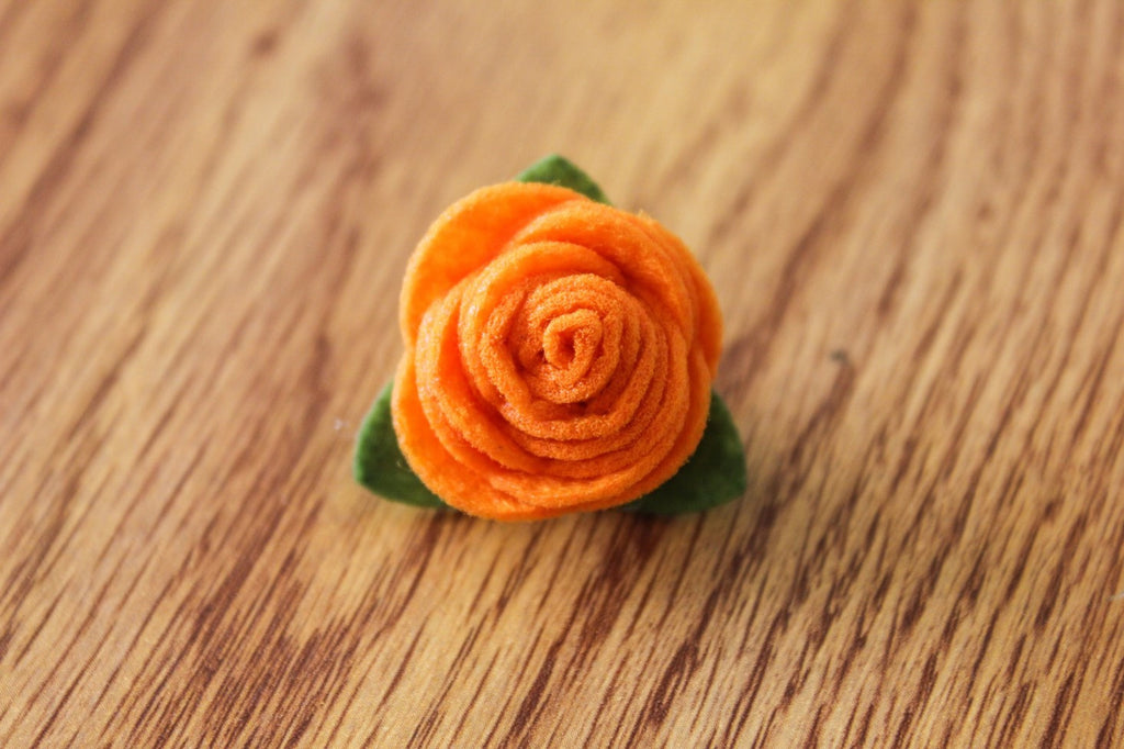 Felt Lapel Flower Pin - Orange - The Dapper Cats