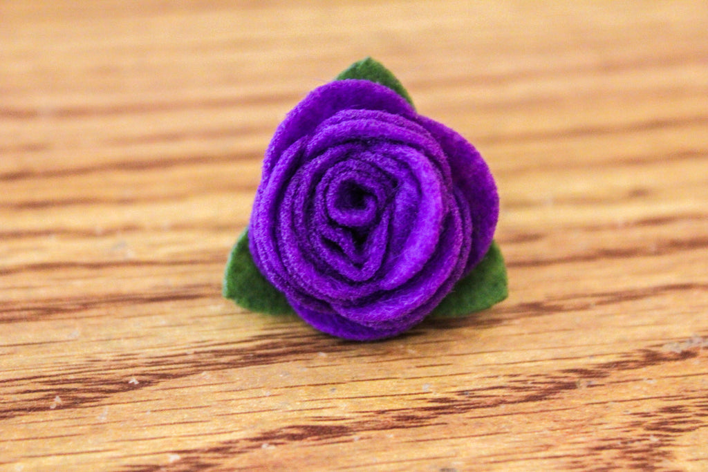 Felt Lapel Flower Pin - Purple - The Dapper Cats