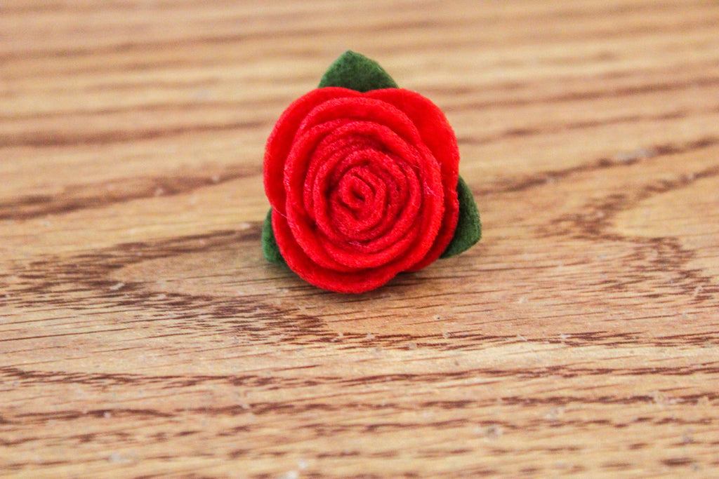 Felt Lapel Flower Pin - Red - The Dapper Cats
