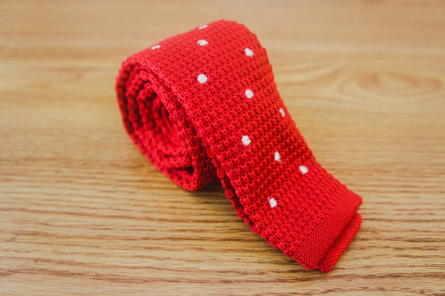 Polka Knit - Red - The Dapper Cats - 1
