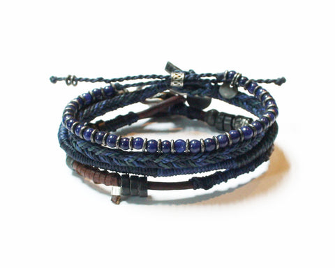 Earth Bracelet Set of 4 strands- Stormy Weather (Available in 3 colors)