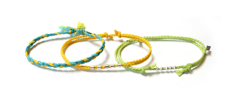 Set of 3 Bracelets Urban Tribe - Become One Yellow (Available in 6 colors)