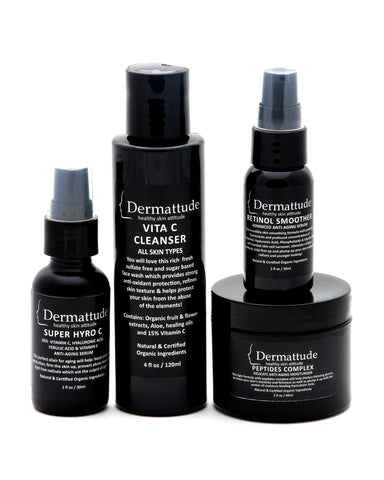 THE ESSENTIAL set of 5 ( cleanser, 2 serums, moisturizer, tinted SPF) - Dermattude Skincare