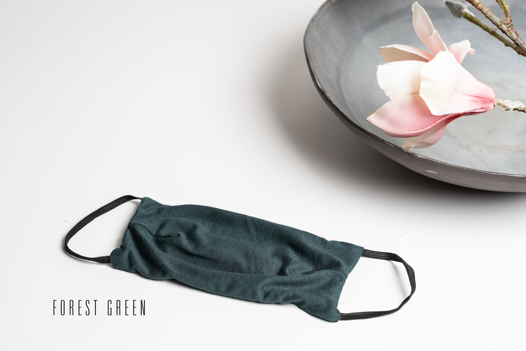 Triple Layer Stretch Face Mask - Forest Green Jersey