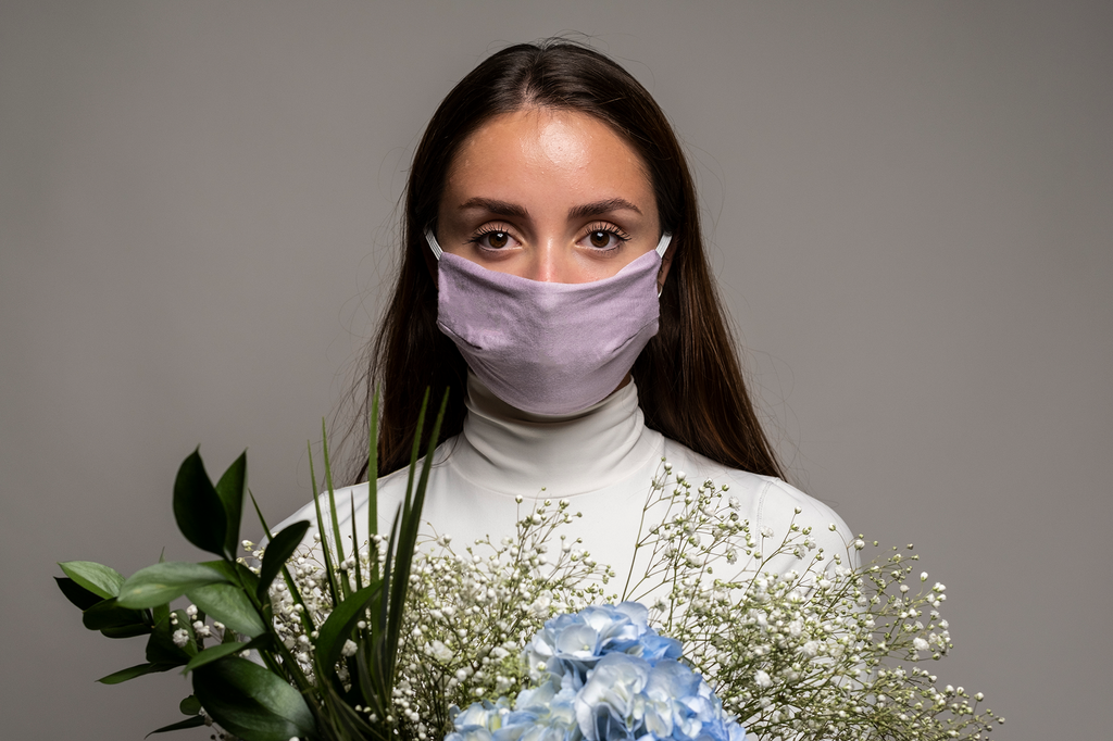 Triple Layer Stretch Face Mask - Lilac Jersey
