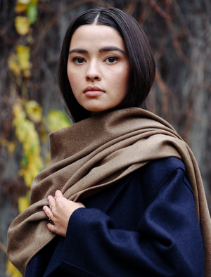 Wool+Silk+Cashmere Shawl-Butter Toffee