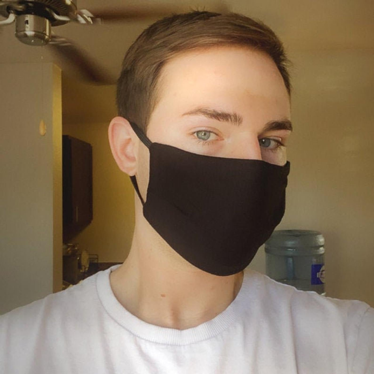 Triple Layer Stretch Face Mask - Black Spandex