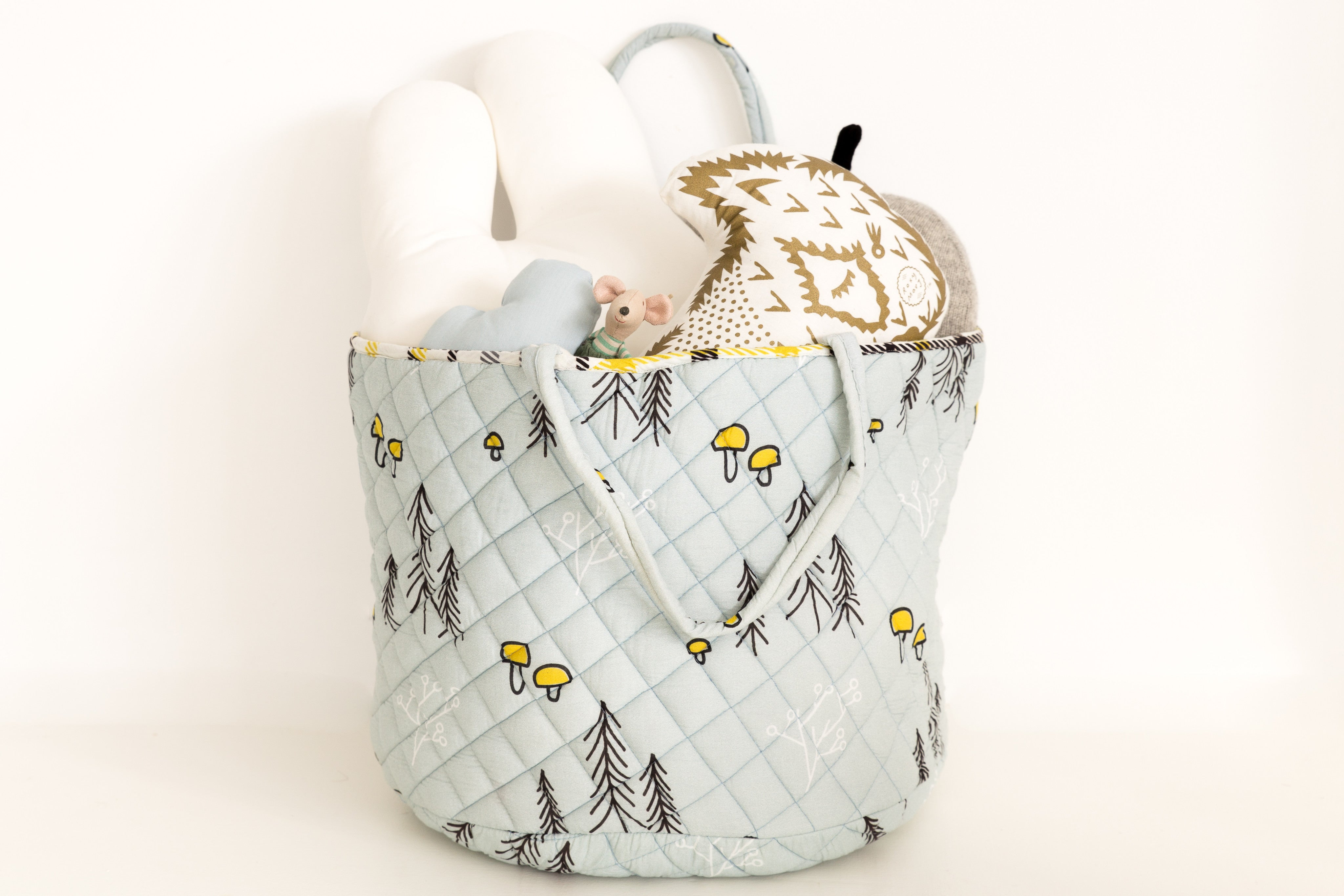 CLEARANCE: Quilted Storage Hamper (Tiny Mushrooms)