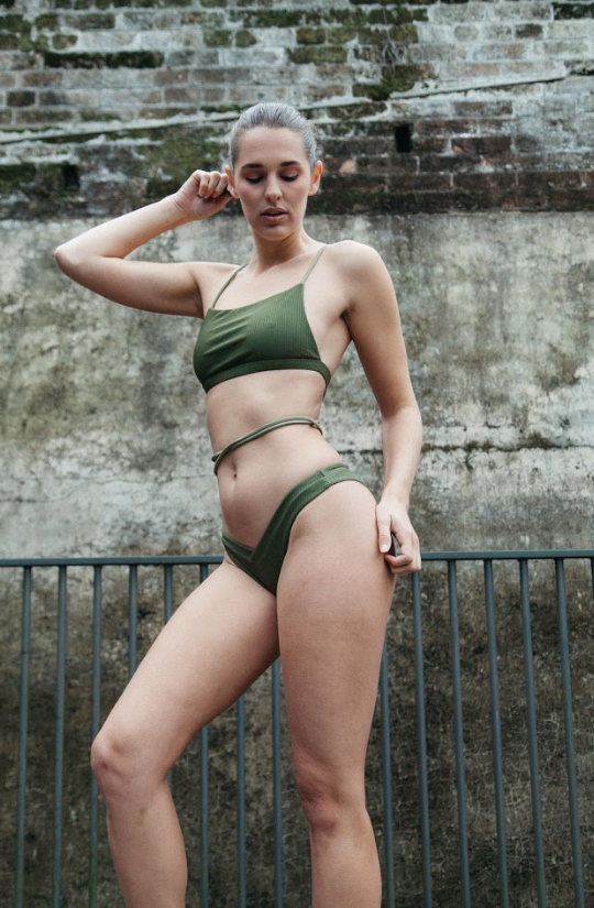 BREE // Square front bikini top and v-front bottoms in Olive GERRYCAN