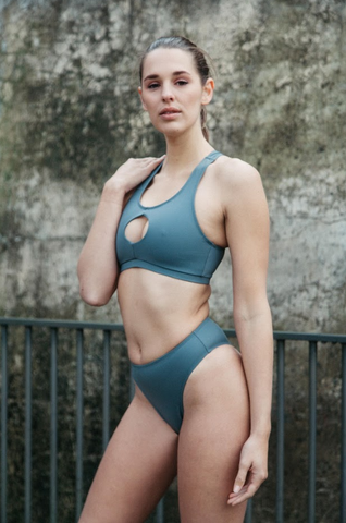 harlow bikini, high cut bottom,action back top with cheeky cut out at chest in grey