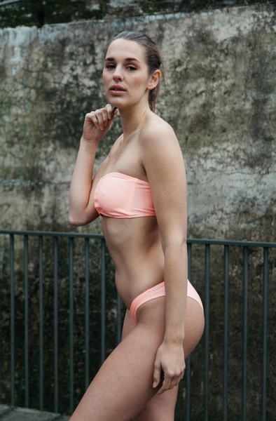 neon pink bandeau top with skimp bottoms,conservative yet minimal bottoms.Bikini set perfect for summer kissed skin
