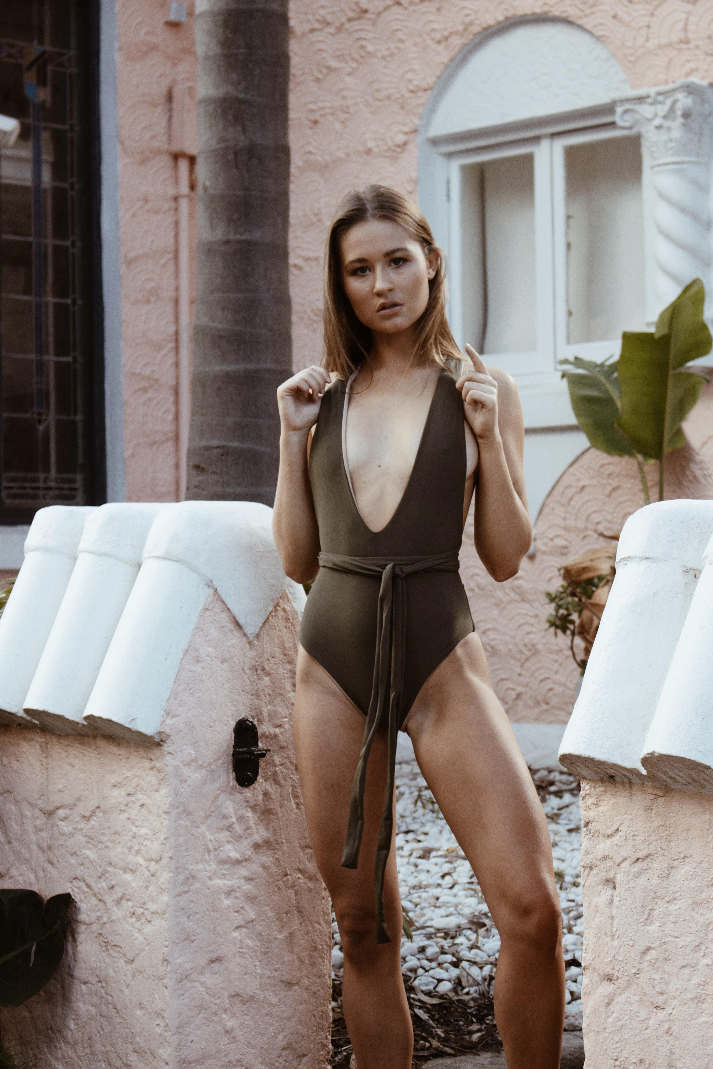 LILAH ONE PIECE // KHAKI AND NUDE