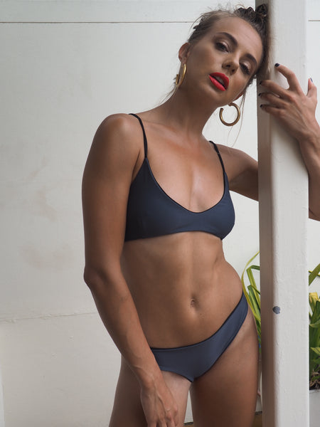 The Brooklyn is a Brazilian style scrunch bikini bottom,seamless and Reversible Black and Charcoal Grey . by Gerry Can