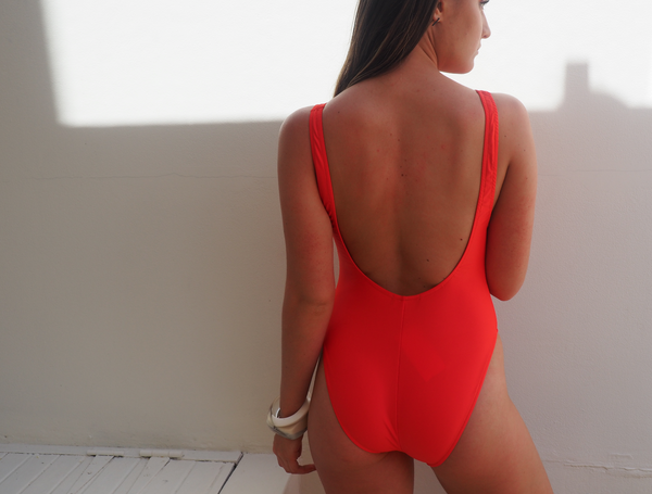 BOND HIGH CUT ONE PIECE,deep scoop back and scoop front swimming costume or swimsuit - SOMMERSALT RED - GERRY CAN