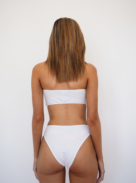 Khlo bandeau bikini set with high waist bottoms in white by Gerry Can