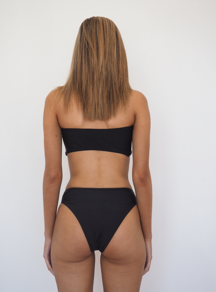 Khlo bandeau bikini set with high waist bottoms in black by Gerry Can