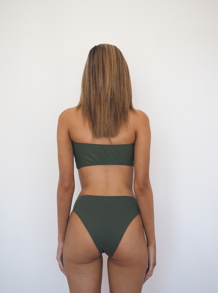 Khlo bandeau bikini set with high waist bottoms in khaki by Gerry Can