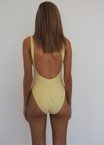 BOND ICONIC ONE PIECE / Yellow, high cut leg and deep scoop back and front.GERRY CAN