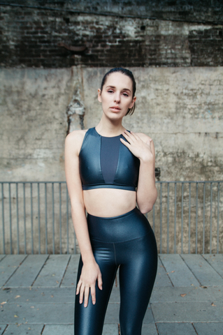 LUSTROUS METAL // WET LOOK CELINE LEGGINGS