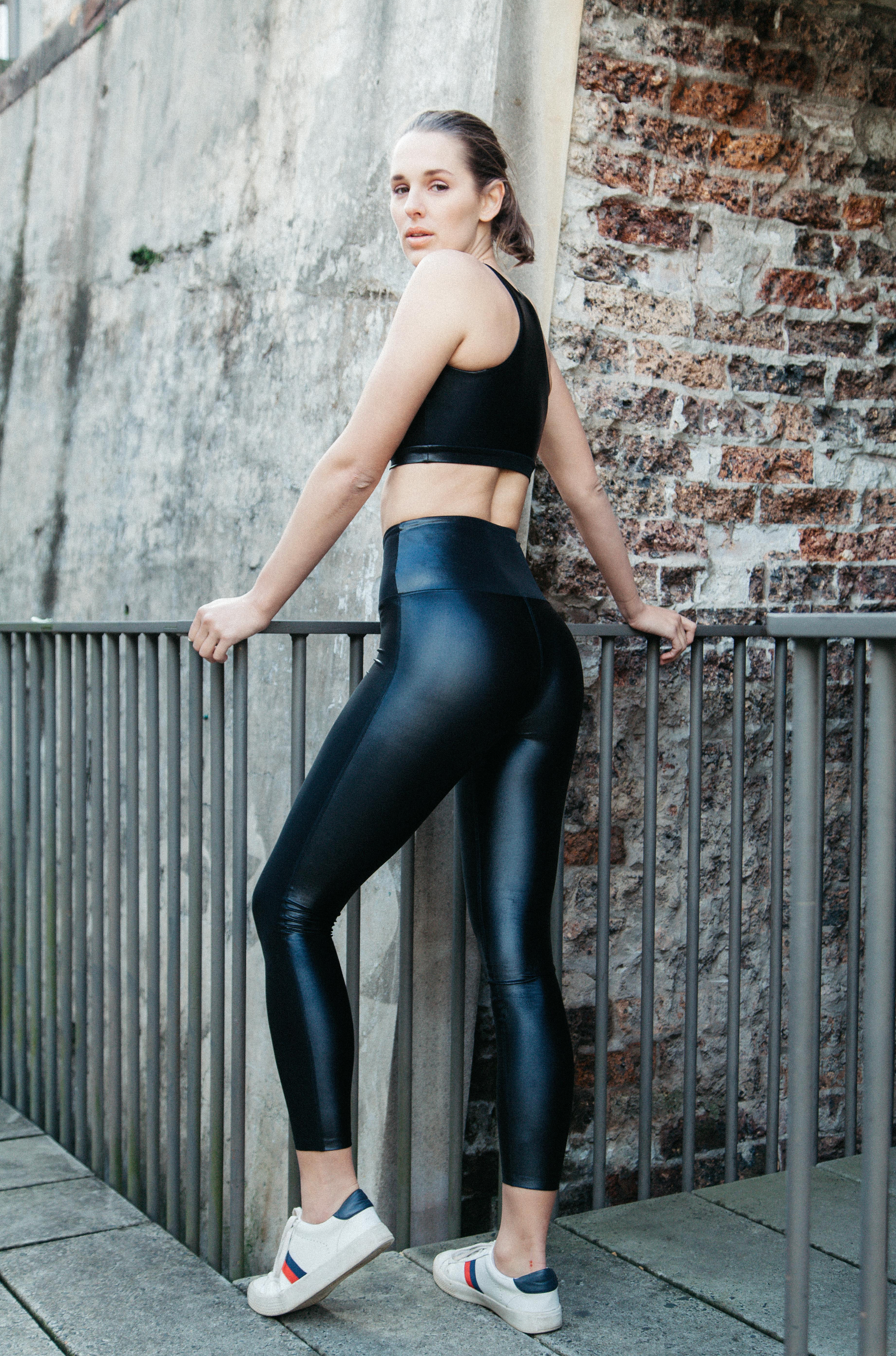 LUSTROUS ONYX // WET LOOK CELINE LEGGINGS BLACK