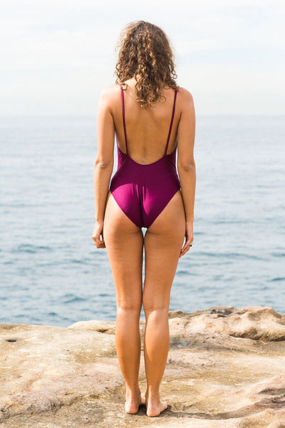 Ines Plunge One Piece Swim suit with thin straps and scoop back- Plum - GERRY CAN