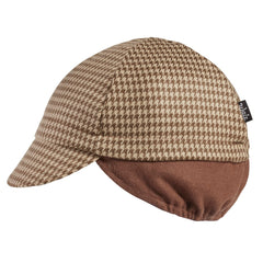 Wool 4-Panel Tan Houndstooth Ear Flap Cycling Cap