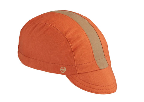 Burnt Orange/Khaki Cotton 3-Panel Cycling Cap