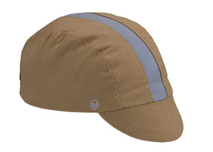 Khaki/Cool River Cotton 3-Panel Cycling Cap