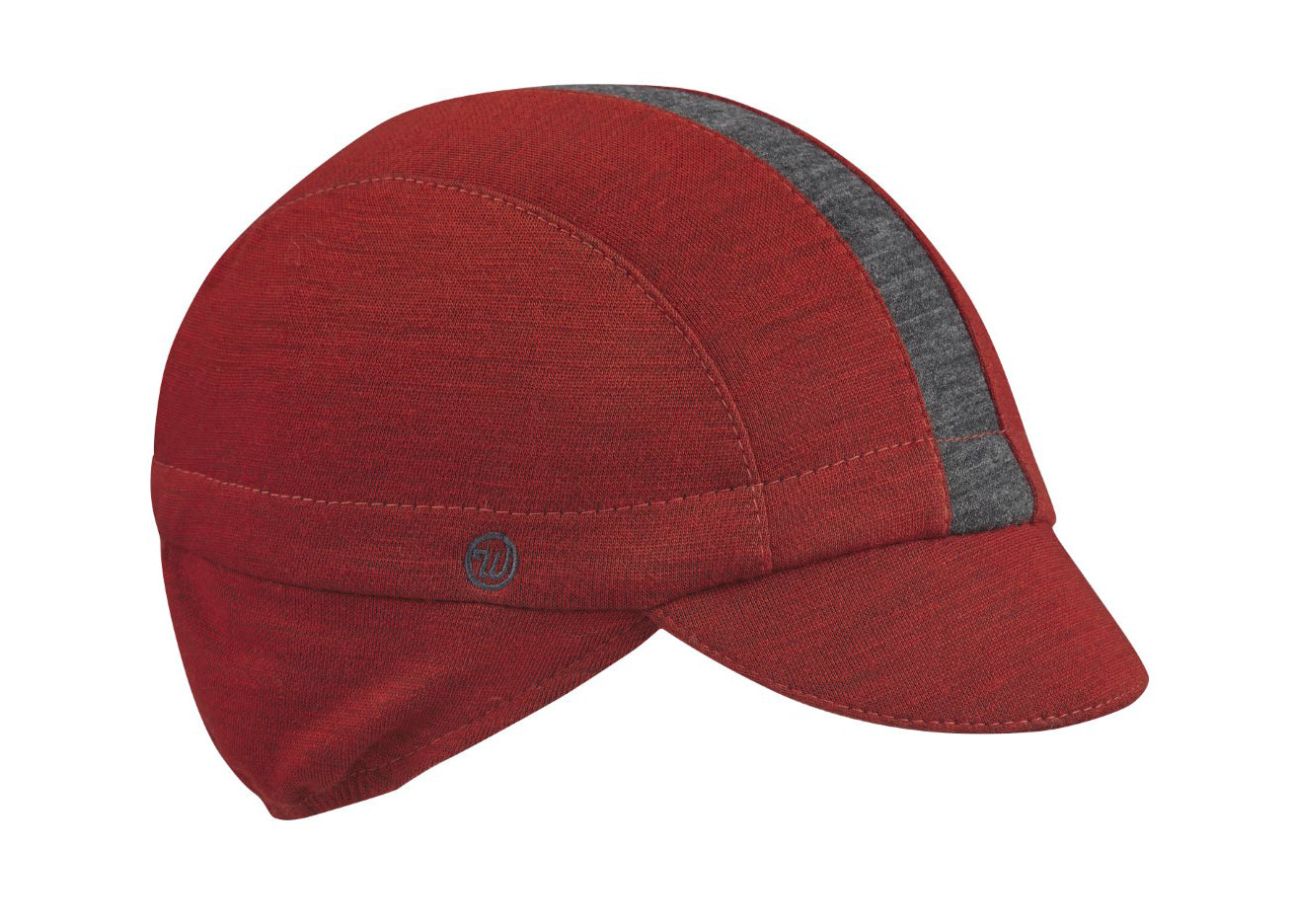 Red/Charcoal Stripe Merino Wool Ear Flap Cap