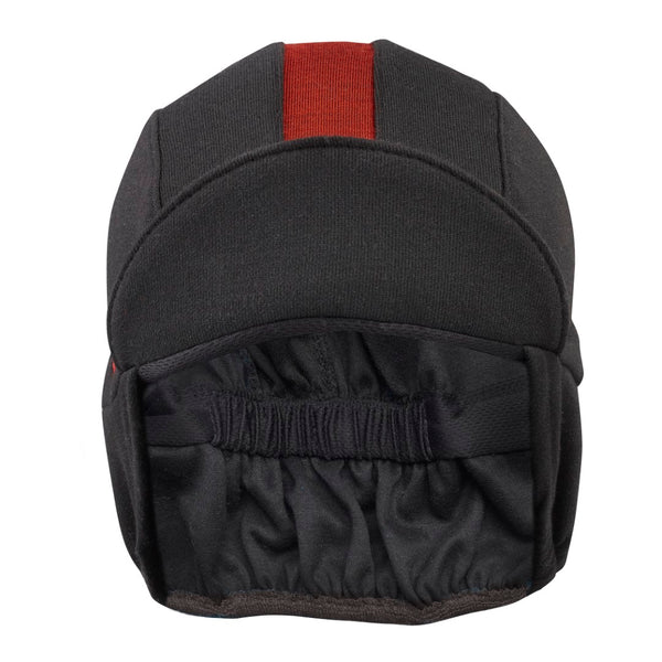Black/Red Stripe Merino Wool Ear Flap Cap